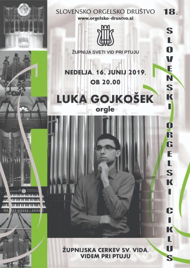 Slovensko orgelsko društvo v sodelovanju z župnijo svetega Vida pri Ptuju vabi na koncert Luke Gojkoška, v nedeljo, 16. junija ob 20. uri. Vljudno vabljeni!